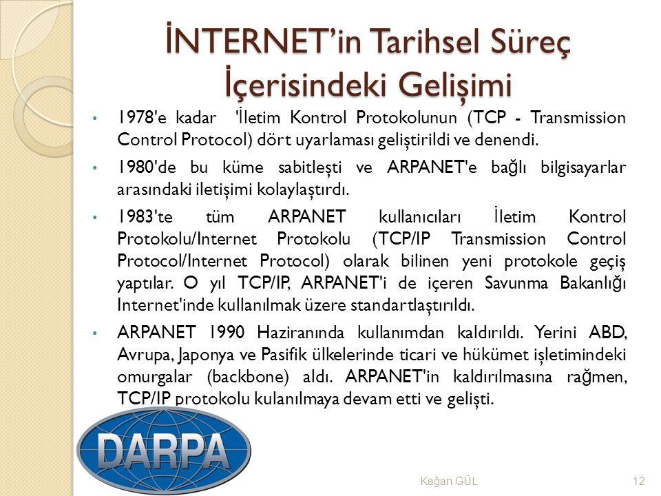 İ NTERNET'in Tarihsel Süreç İ çerisindeki Gelişimi Ka ğ an GÜL12 1978'e kadar ' İ letim Kontrol Protokolunun (TCP - Transmission Control Protocol) dör