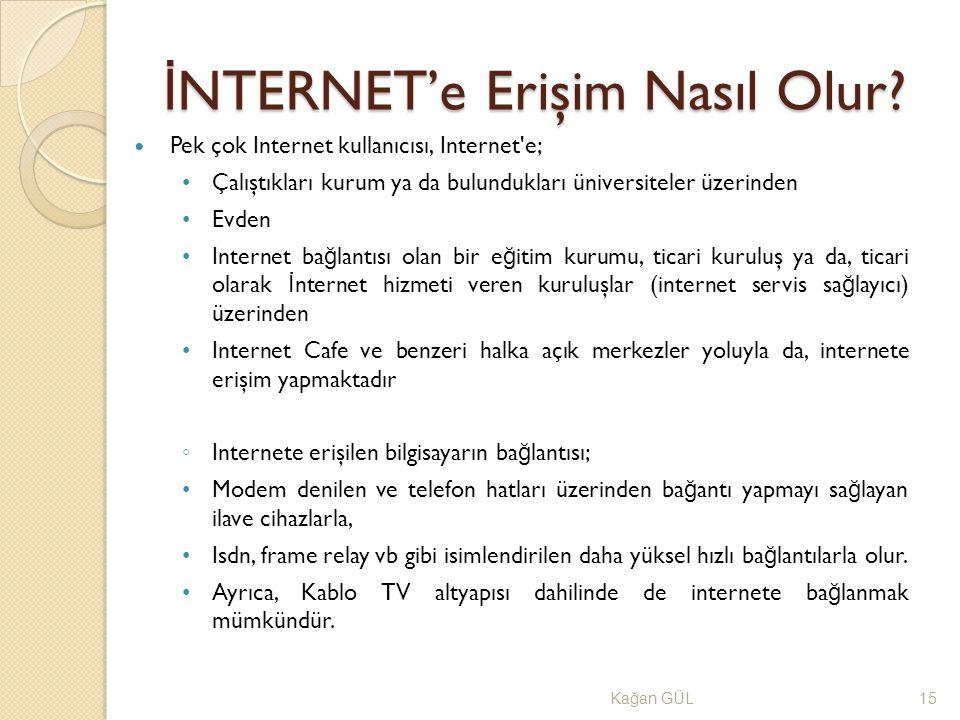 İ NTERNET'e Erişim Nasıl Olur? Ka ğ an GÜL15 Pek çok Internet kullanıcısı, Internet'e; Çalıştıkları kurum ya da bulundukları üniversiteler üzerinden E