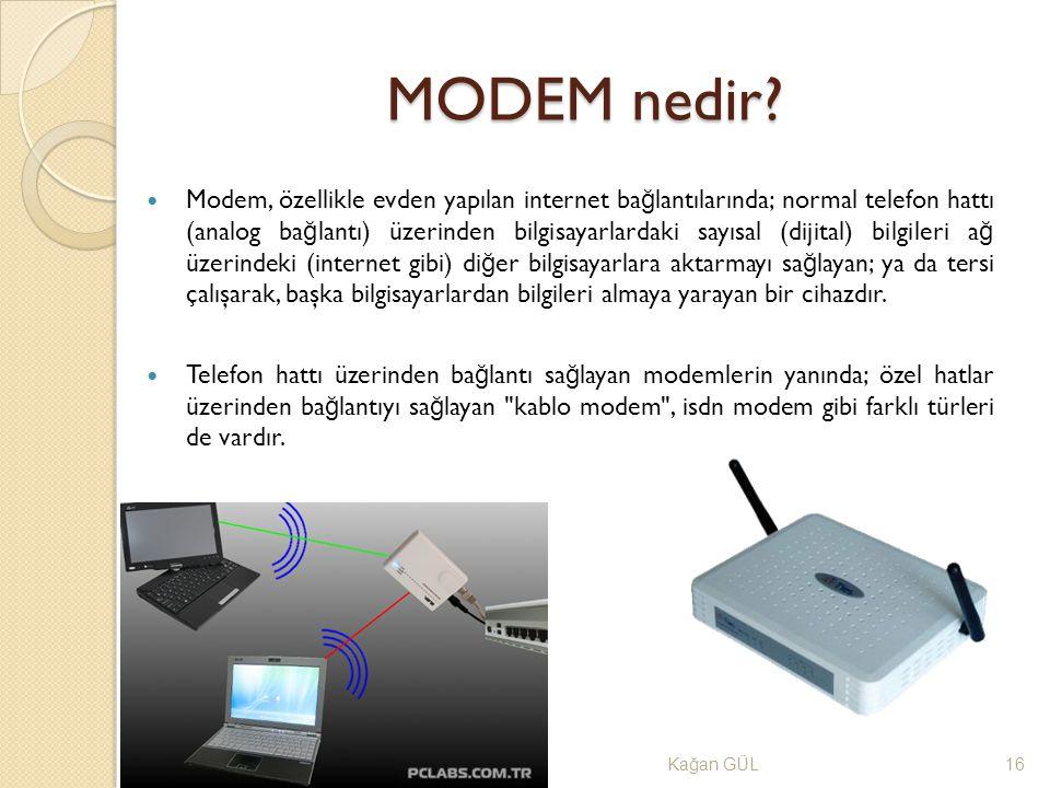 MODEM nedir? Ka ğ an GÜL16 Modem, özellikle evden yapılan internet ba ğ lantılarında; normal telefon hattı (analog ba ğ lantı) üzerinden bilgisayarlar