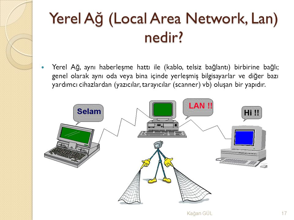 Yerel A ğ (Local Area Network, Lan) nedir? Ka ğ an GÜL17 Yerel A ğ, aynı haberleşme hattı ile (kablo, telsiz ba ğ lantı) birbirine ba ğ lı; genel olar