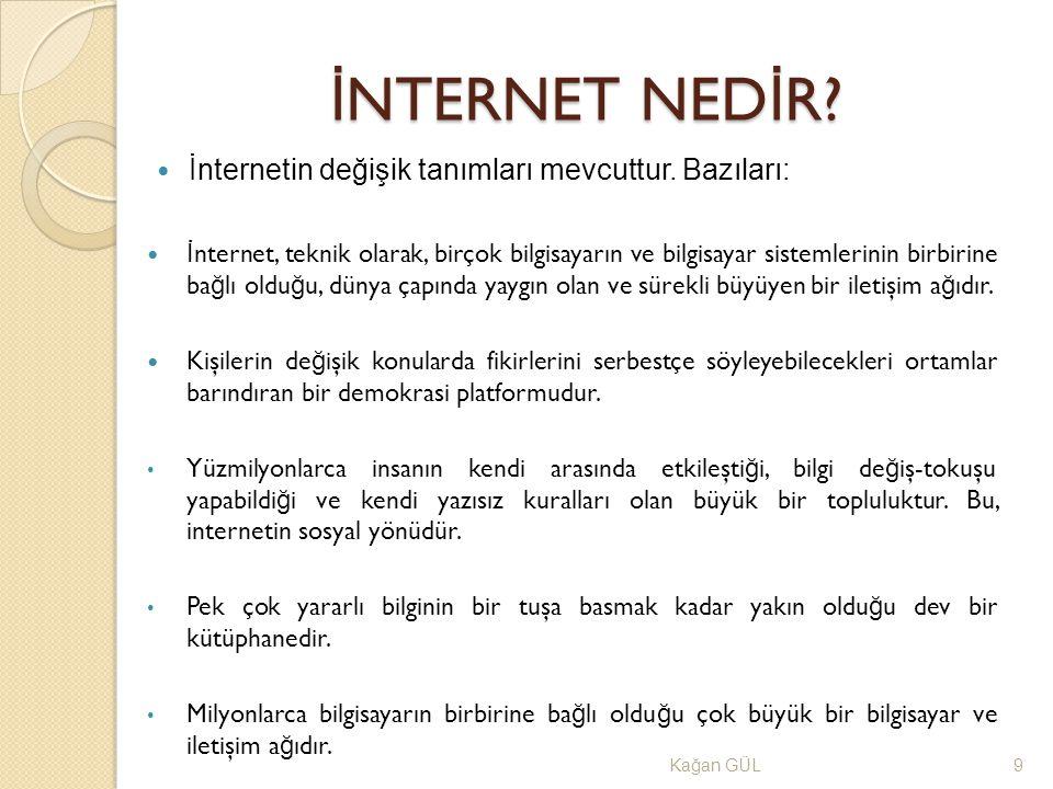 İ NTERNET NED İ R? Ka ğ an GÜL9 İnternetin değişik tanımları mevcuttur. Bazıları: İ nternet, teknik olarak, birçok bilgisayarın ve bilgisayar sistemle