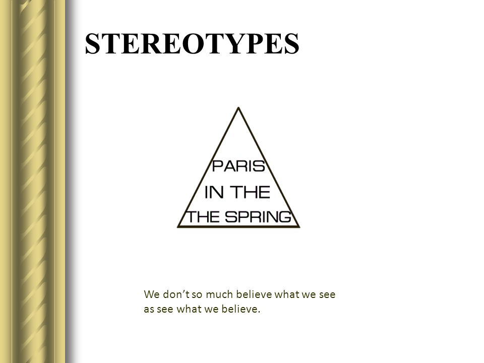 STEREOTYPES We don't so much believe what we see as see what we believe.