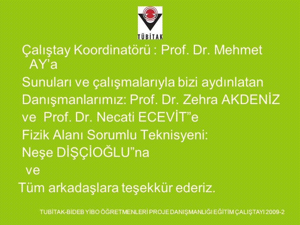Çalıştay Koordinatörü : Prof. Dr. Mehmet AY'a Sunuları ve çalışmalarıyla bizi aydınlatan Danışmanlarımız: Prof. Dr. Zehra AKDENİZ ve Prof. Dr. Necati
