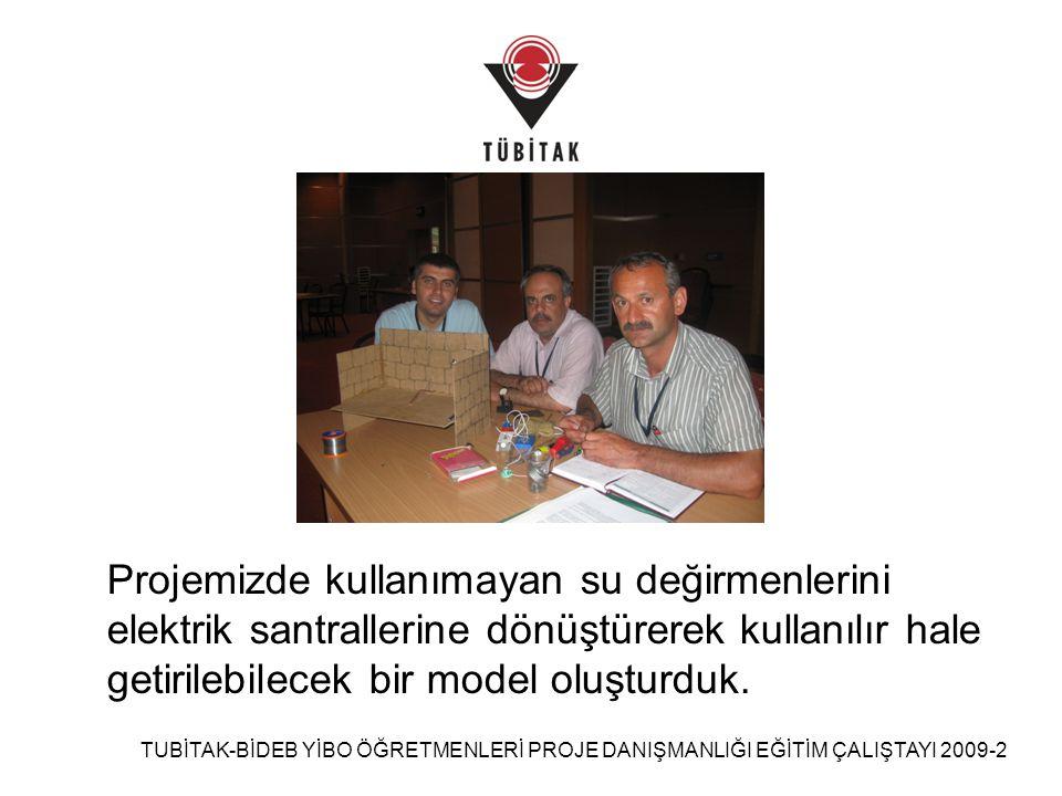 TUBİTAK-BİDEB YİBO ÖĞRETMENLERİ PROJE DANIŞMANLIĞI EĞİTİM ÇALIŞTAYI 2009-2 Değirmenin duvarlarını oluşturmak için suntalar birbirine yapıştırıldı.