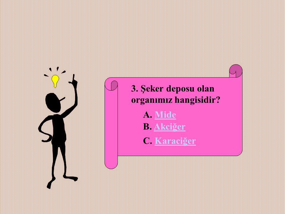 3. Şeker deposu olan organımız hangisidir? A. MideMide B. AkciğerAkciğer C. KaraciğerKaraciğer