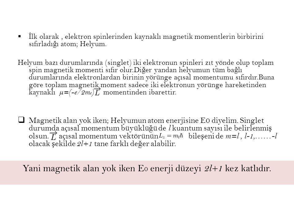  İ lk olarak, elektron spinlerinden kaynaklı magnetik momentlerin birbirini sıfırladı ğ ı atom; Helyum. Helyum bazı durumlarında (singlet) iki elektr