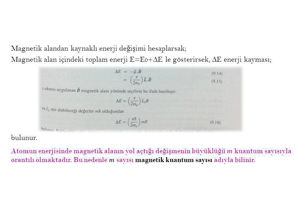 Magnetik alandan kaynaklı enerji de ğ i ş imi hesaplarsak; Magnetik alan içindeki toplam enerji E=E 0 +∆E le gösterirsek, ∆E enerji kayması; bulunur.