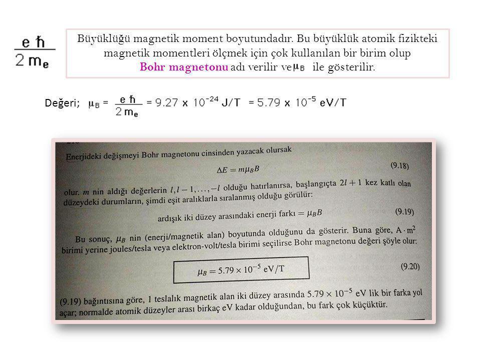 Büyüklü ğ ü magnetik moment boyutundadır. Bu büyüklük atomik fizikteki magnetik momentleri ölçmek için çok kullanılan bir birim olup Bohr magnetonu ad