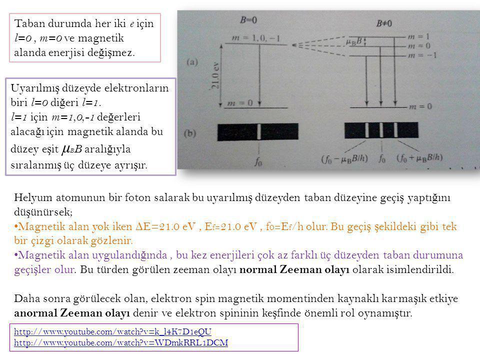 Taban durumda her iki e için l=0, m=0 ve magnetik alanda enerjisi de ğ i ş mez. Uyarılmı ş düzeyde elektronların biri l=0 di ğ eri l=1. l=1 için m=1,0