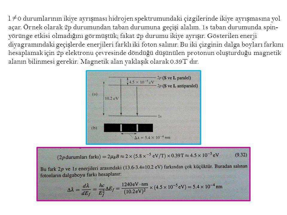 l 0 durumlarının ikiye ayrı ş ması hidrojen spektrumundaki çizgilerinde ikiye ayrı ş masına yol açar. Örnek olarak 2p durumundan taban durumuna geçi ş