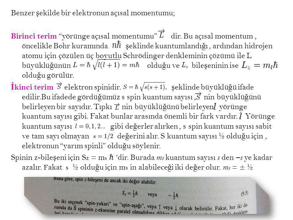 """Benzer ş ekilde bir elektronun açısal momentumu; Birinci terim """"yörünge açısal momentumu"""" dir. Bu açısal momentum, öncelikle Bohr kuramında ş eklinde"""
