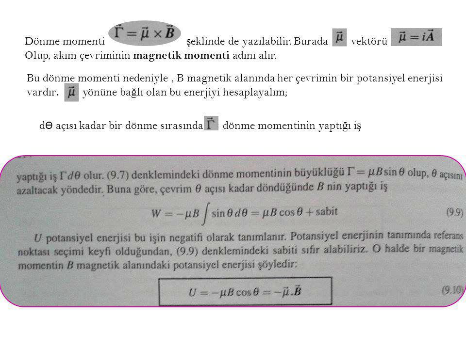Dönme momenti ş eklinde de yazılabilir. Burada vektörü Olup, akım çevriminin magnetik momenti adını alır. d Ѳ açısı kadar bir dönme sırasında dönme mo