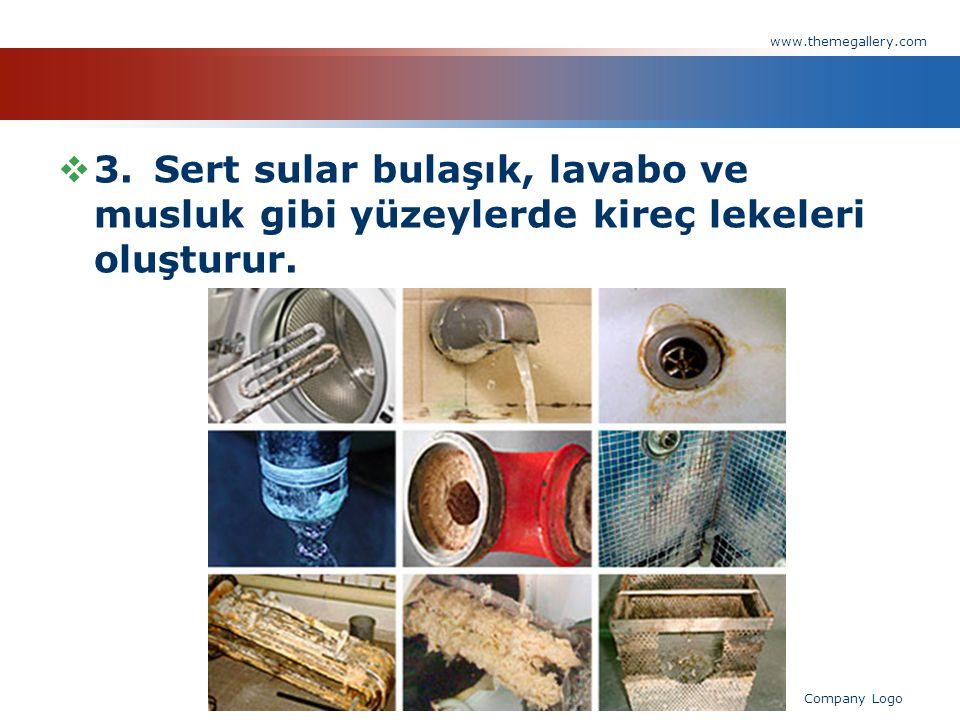  3.Sert sular bulaşık, lavabo ve musluk gibi yüzeylerde kireç lekeleri oluşturur. www.themegallery.com Company Logo
