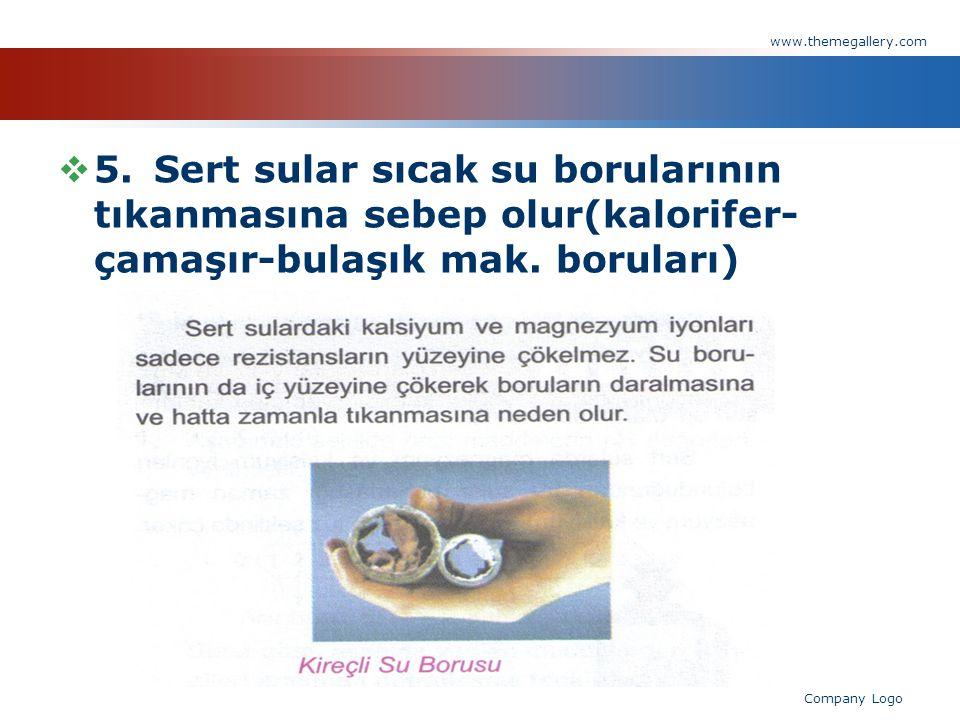  5.Sert sular sıcak su borularının tıkanmasına sebep olur(kalorifer- çamaşır-bulaşık mak. boruları) www.themegallery.com Company Logo
