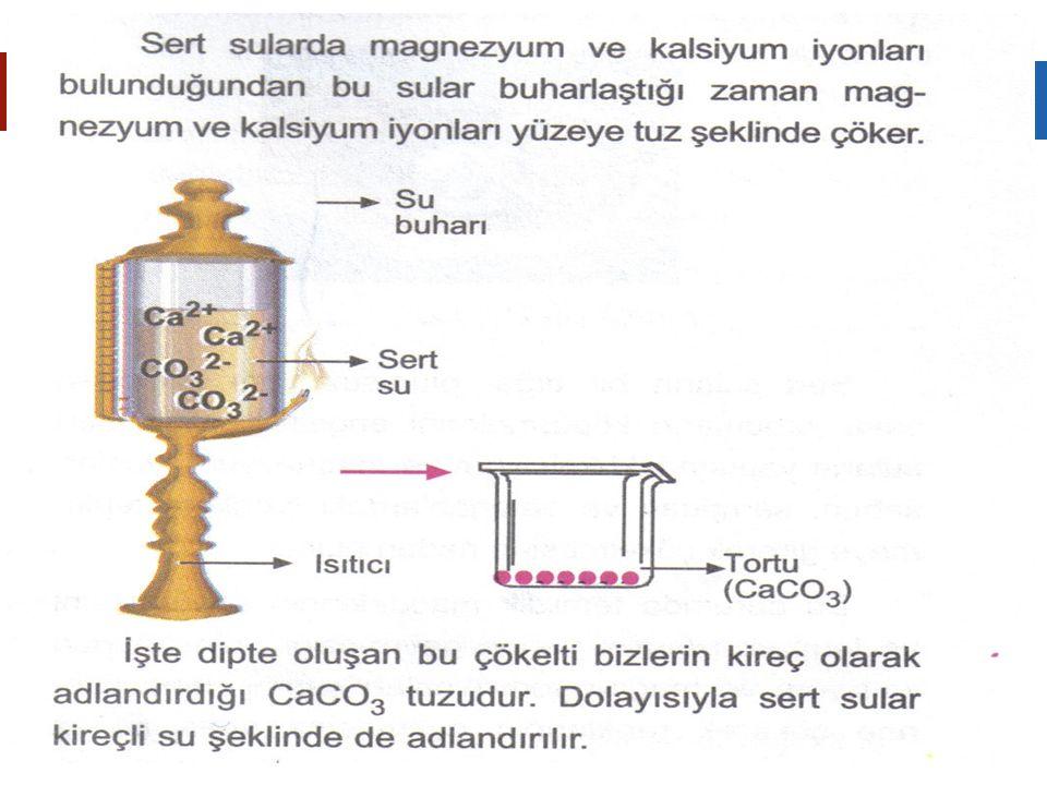  Sert Suların Özellikleri  1.Yapısında Ca+2 veya Mg+2 iyonu fazladır.