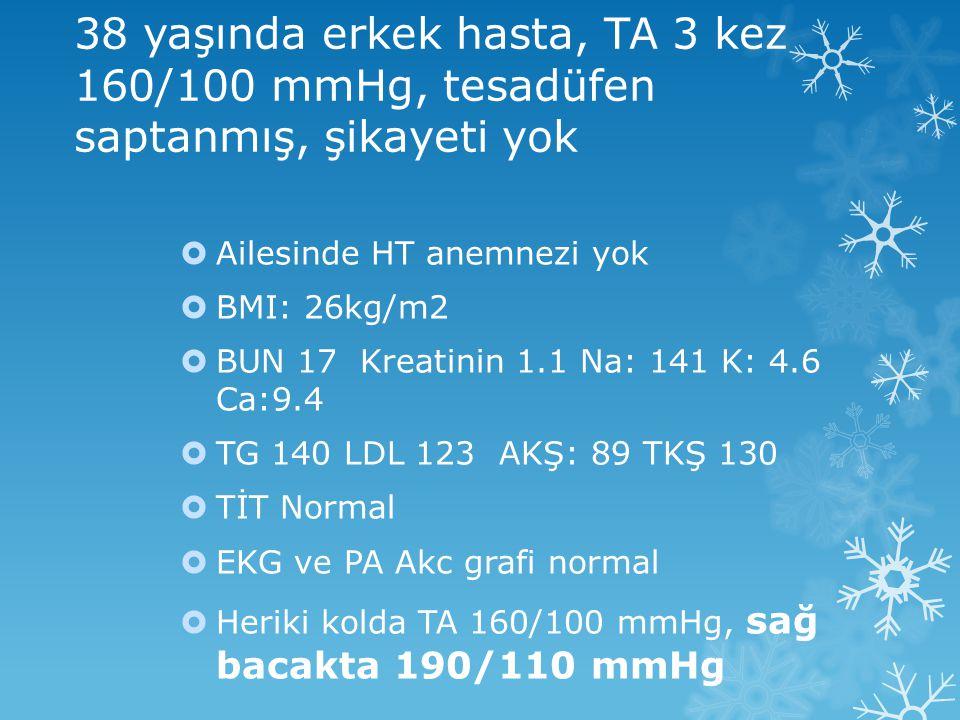 38 yaşında erkek hasta, TA 3 kez 160/100 mmHg, tesadüfen saptanmış, şikayeti yok  Ailesinde HT anemnezi yok  BMI: 26kg/m2  BUN 17 Kreatinin 1.1 Na: 141 K: 4.6 Ca:9.4  TG 140 LDL 123 AKŞ: 89 TKŞ 130  TİT Normal  EKG ve PA Akc grafi normal  Heriki kolda TA 160/100 mmHg, sağ bacakta 190/110 mmHg