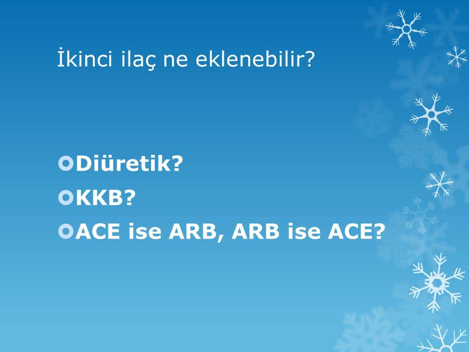 İkinci ilaç ne eklenebilir?  Diüretik?  KKB?  ACE ise ARB, ARB ise ACE?