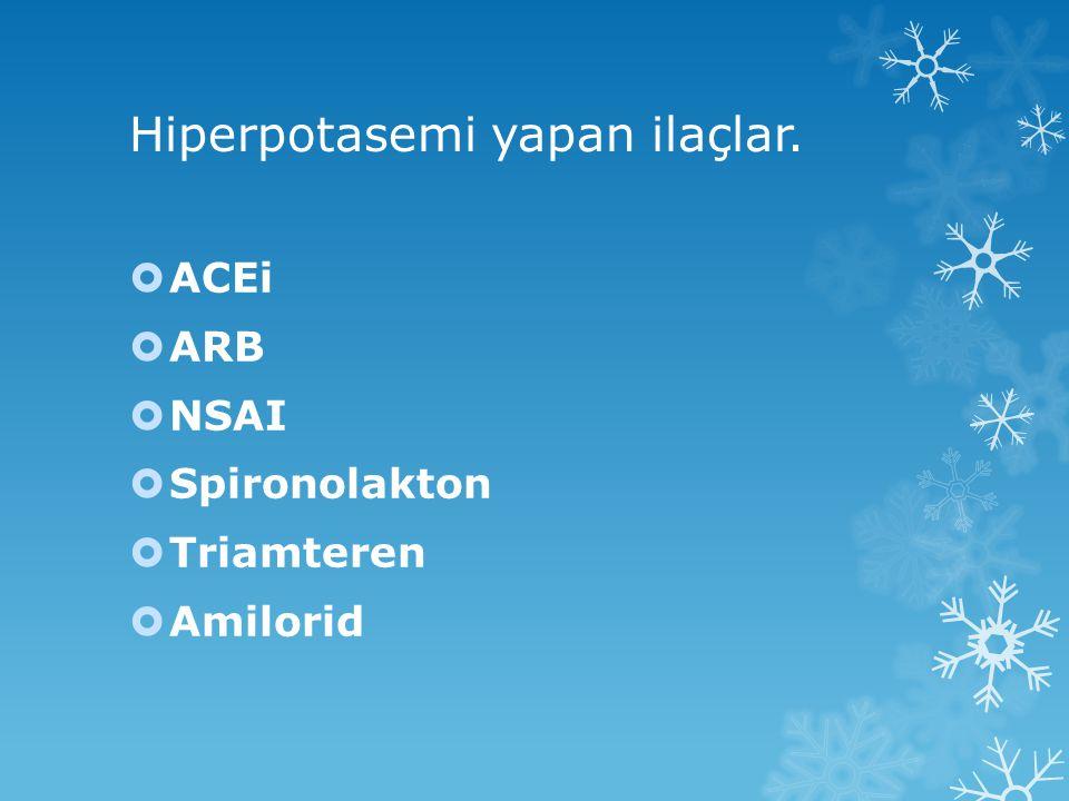 Hiperpotasemi yapan ilaçlar.  ACEi  ARB  NSAI  Spironolakton  Triamteren  Amilorid