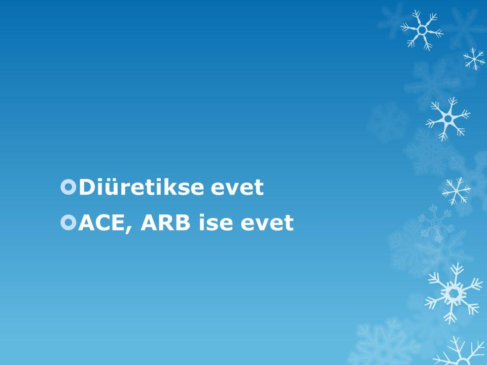  Diüretikse evet  ACE, ARB ise evet