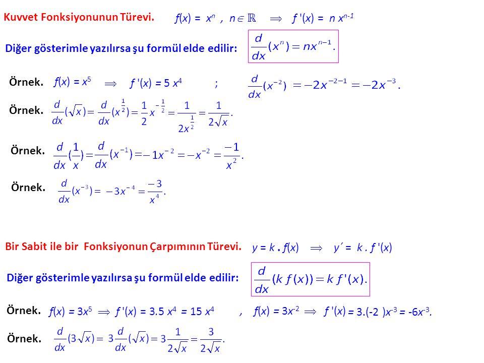 Türev Hesabı. Herhangi bir f fonksiyonunun x teki türevinin olduğunu anımsayalım. y = f (x) denklemi ile tanımlanmış bir f fonksiyonu için f ´(x) yeri