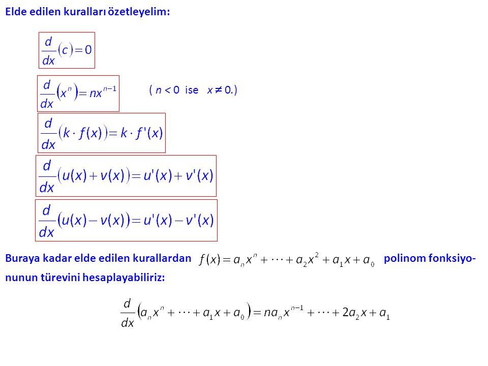 Toplam ve Farkın Türevi. Diğer gösterimle yazılırsa şu formüller elde edilir: Örnek. Toplam ve farkın türevi ile ilgili kuralların ikiden çok fonksiyo