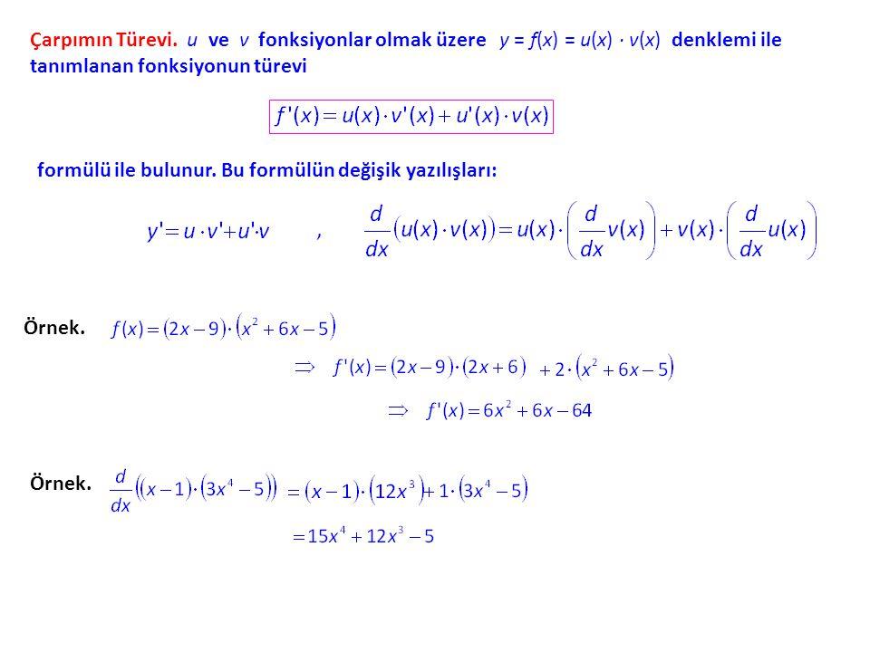 Türev ve Hız. y - ekseni üzerinde hareket eden bir nesnenin x anındaki yeri y = f(x)f(x) denklemi ile verilmişse, bu nesnenin x = a anından x = a +h a