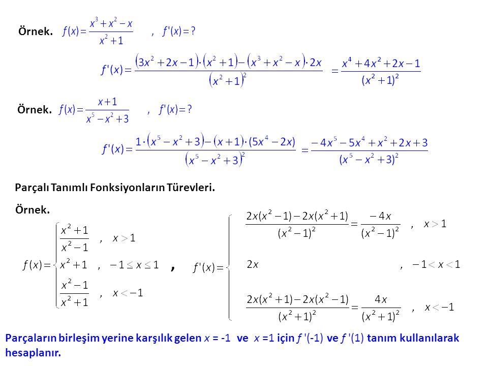 Bölümün Türevi. u ve v fonksiyonlar olmak üzere formülü ile bulunur. Bu formülün değişik yazılışları şöyledir: Örnek. denklemi ile tanımlanan fonksiyo