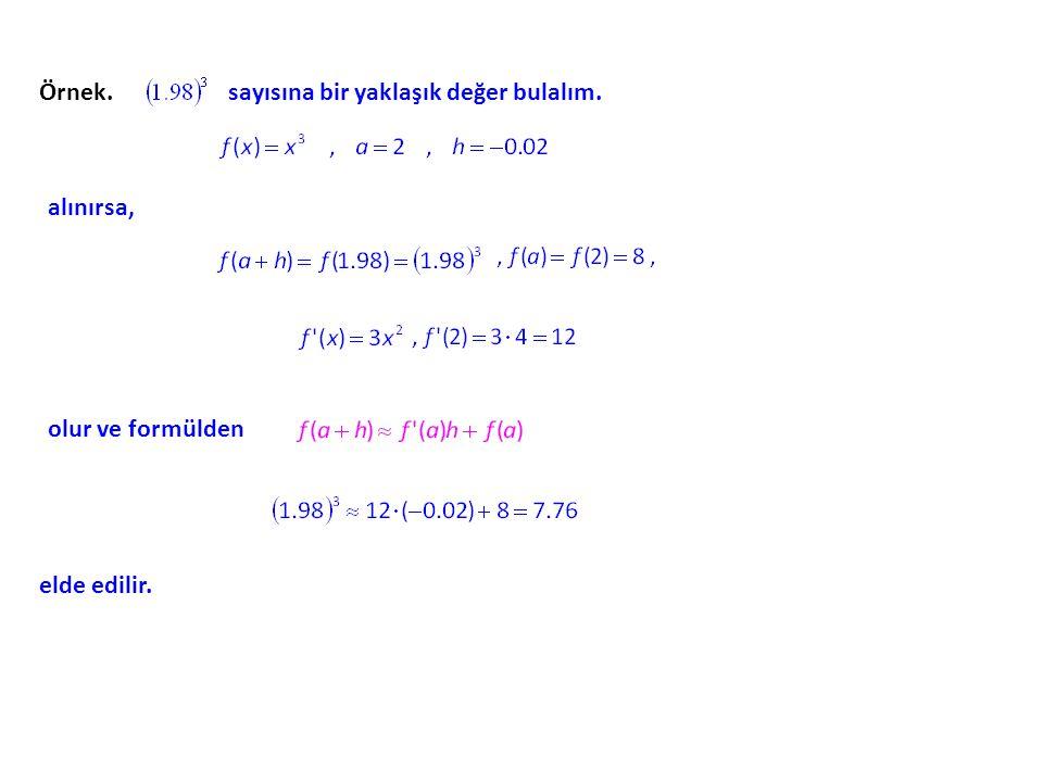 Yaklaşık Değerler. f fonksiyonunun (a, f(a)) noktasındaki teğetinin eğiminin f ´(a) ve teğetin denkleminin de y = f ´(a) ´(a) (x – a) a) + f(a) f(a) o