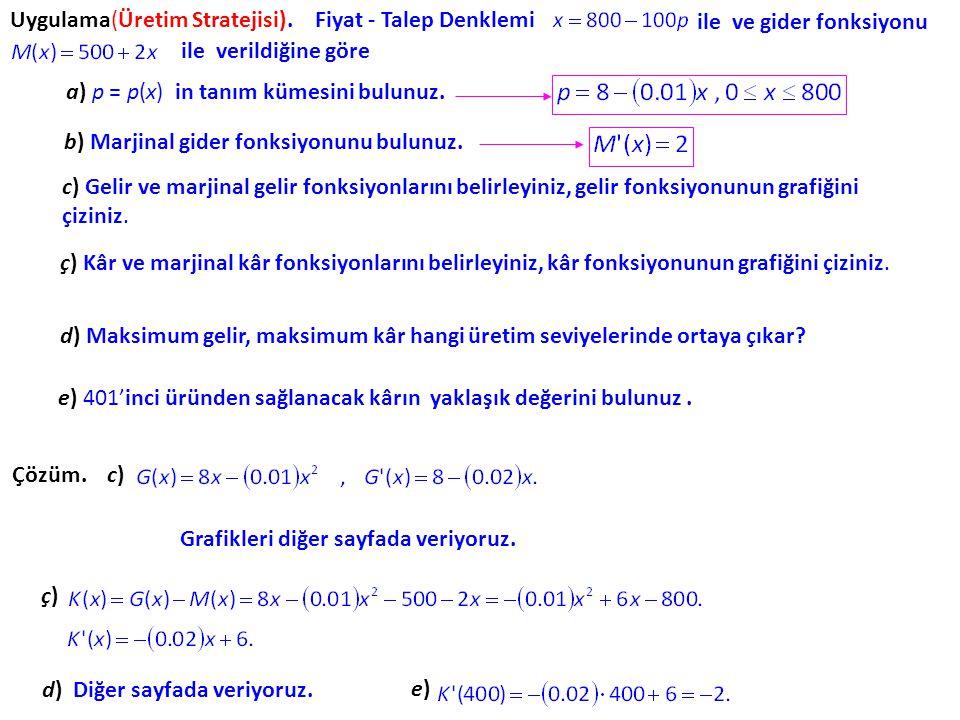 c) x tane masa satılması durumunda elde edilecek kâr dir. K nın da tanım kümesi (0,750) dir. denklemleri ile verilir. d) M′(200)=400, 201'inci masa iç