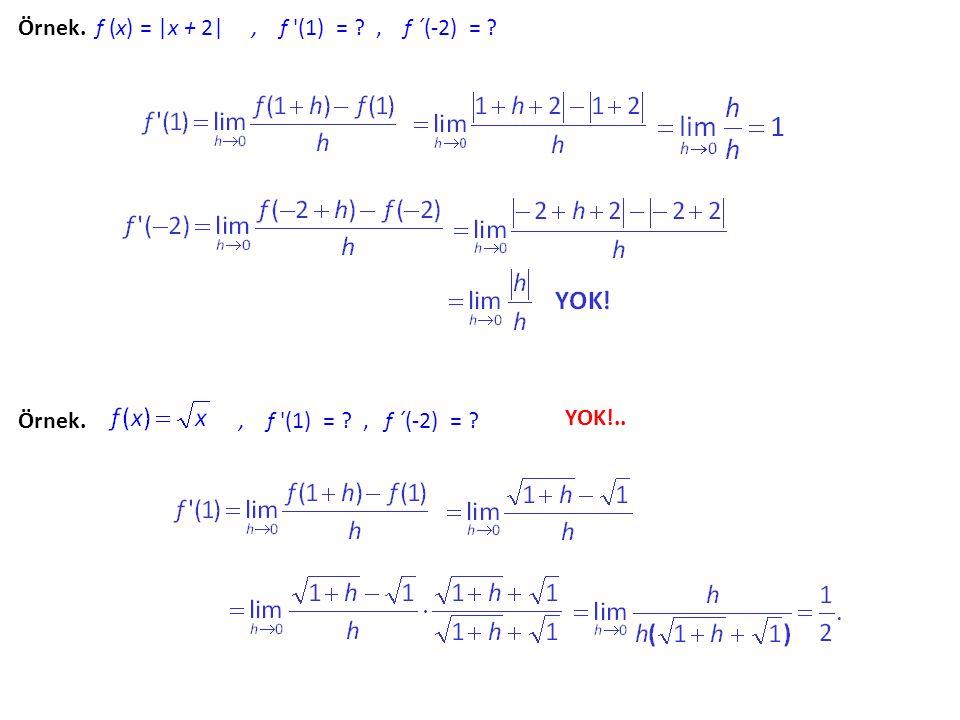 Örnek. f (x) = x2 x2 + 2, f '(1) = ? Böylece, y = x2 x2 + 2 nin grafiğinin (1,f (1)) = (1,3) noktasındaki teğetinin denklemi y = 2 (x - 1) + 3  y = 2