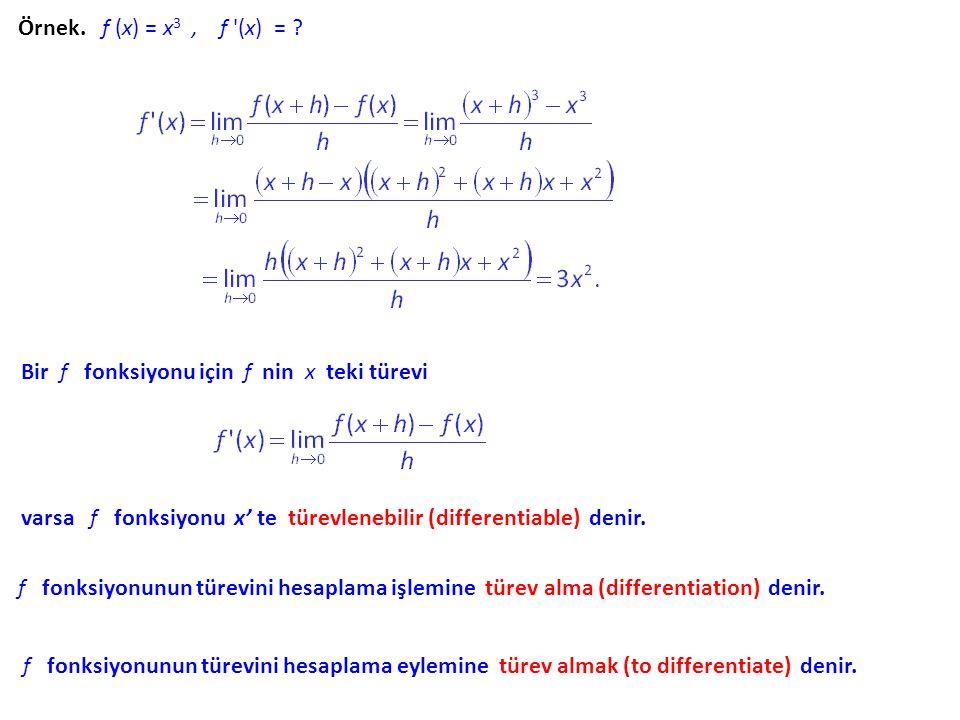 Örnek. f (x) = c, f '(x) = ? Örnek., f ´(1) = ?, f '(x) = ?