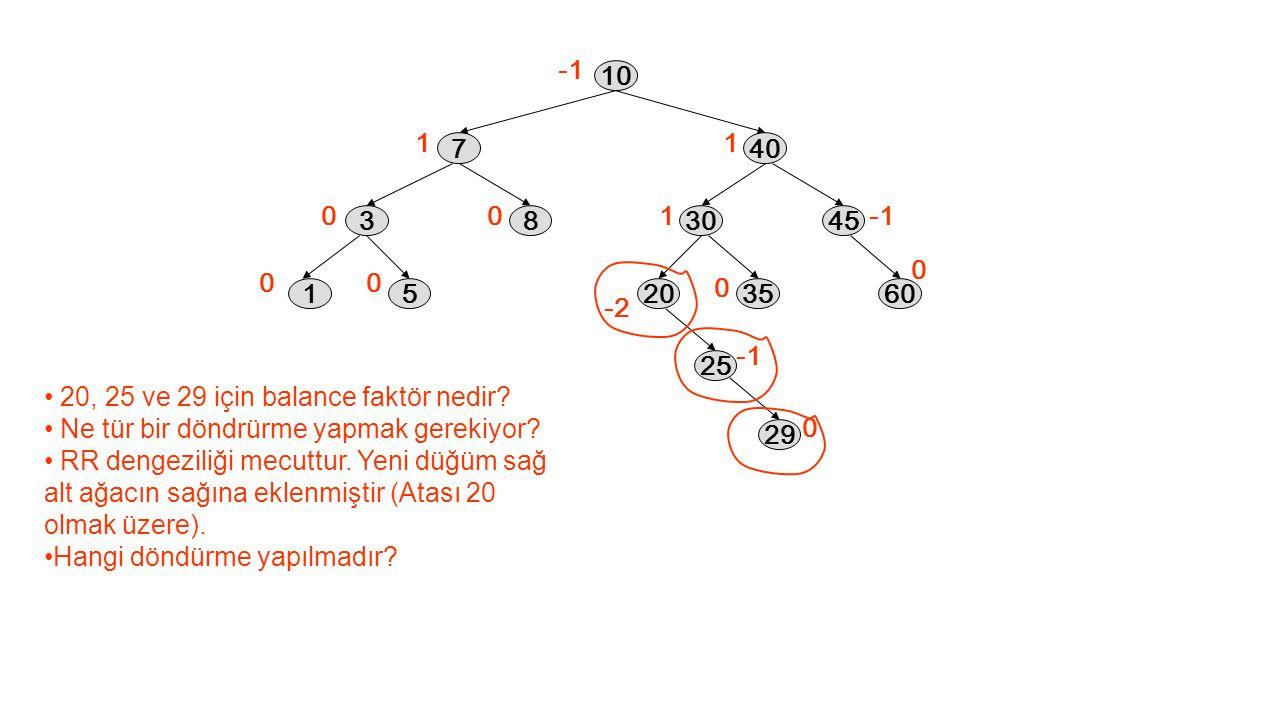 1 0 00 0 1 1 0 0 10 40 3045 2035 25 60 7 38 15 -2 0 20, 25 ve 29 için balance faktör nedir? Ne tür bir döndrürme yapmak gerekiyor? RR dengeziliği mecu