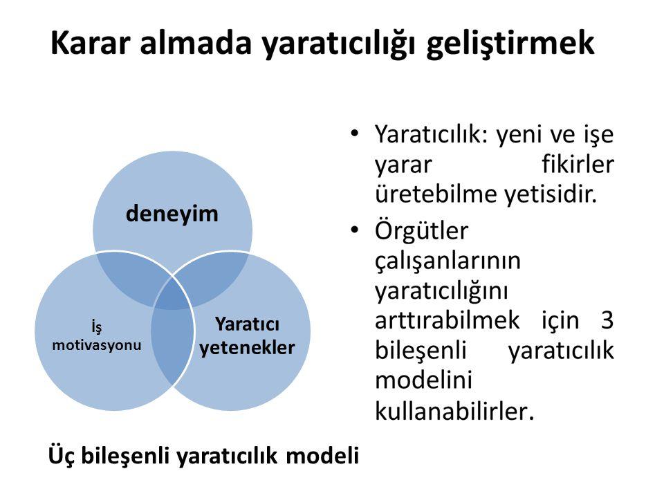 Üç bileşenli yaratıcılık modeli deneyim Yaratıcı yetenekler İş motivasyonu