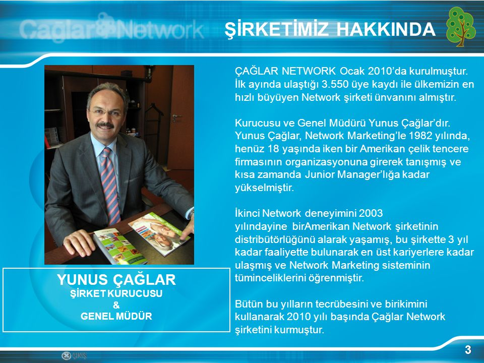 3 YUNUS ÇAĞLAR ŞİRKET KURUCUSU & GENEL MÜDÜR ÇAĞLAR NETWORK Ocak 2010'da kurulmuştur.