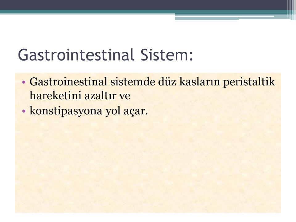 Gastrointestinal Sistem: Gastroinestinal sistemde düz kasların peristaltik hareketini azaltır ve konstipasyona yol açar.