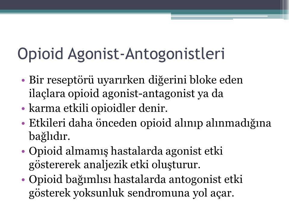 Opioid Agonist-Antogonistleri Bir reseptörü uyarırken diğerini bloke eden ilaçlara opioid agonist-antagonist ya da karma etkili opioidler denir. Etkil