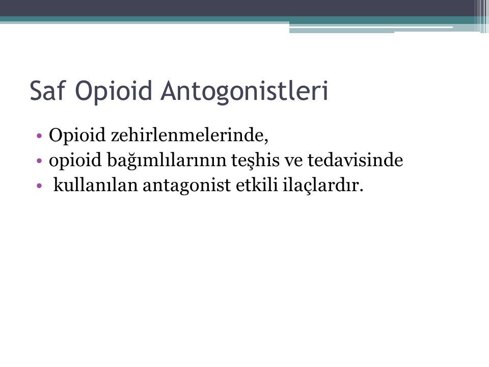 Saf Opioid Antogonistleri Opioid zehirlenmelerinde, opioid bağımlılarının teşhis ve tedavisinde kullanılan antagonist etkili ilaçlardır.
