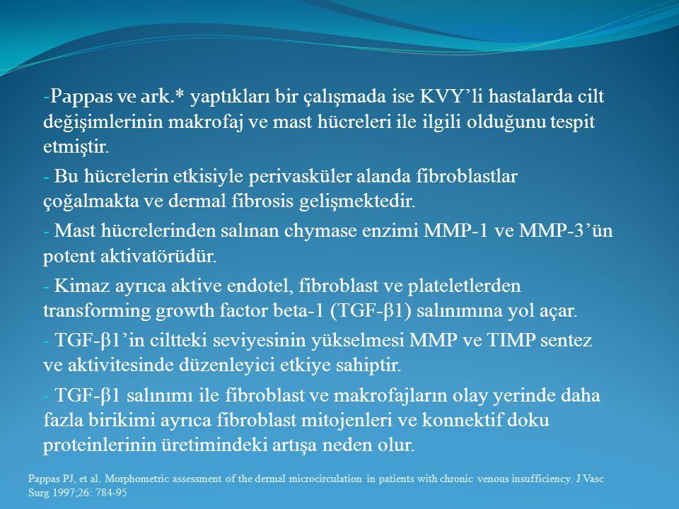 - Pappas ve ark. * yaptıkları bir çalışmada ise KVY'li hastalarda cilt değişimlerinin makrofaj ve mast hücreleri ile ilgili olduğunu tespit etmiştir.