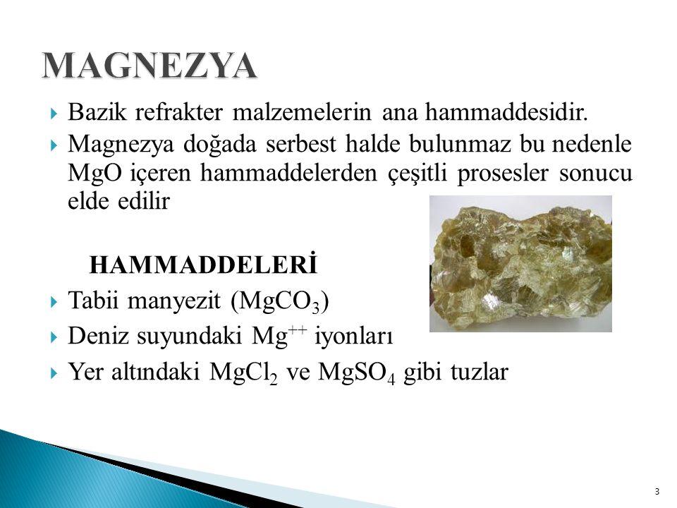  Bazik refrakter malzemelerin ana hammaddesidir.  Magnezya doğada serbest halde bulunmaz bu nedenle MgO içeren hammaddelerden çeşitli prosesler sonu