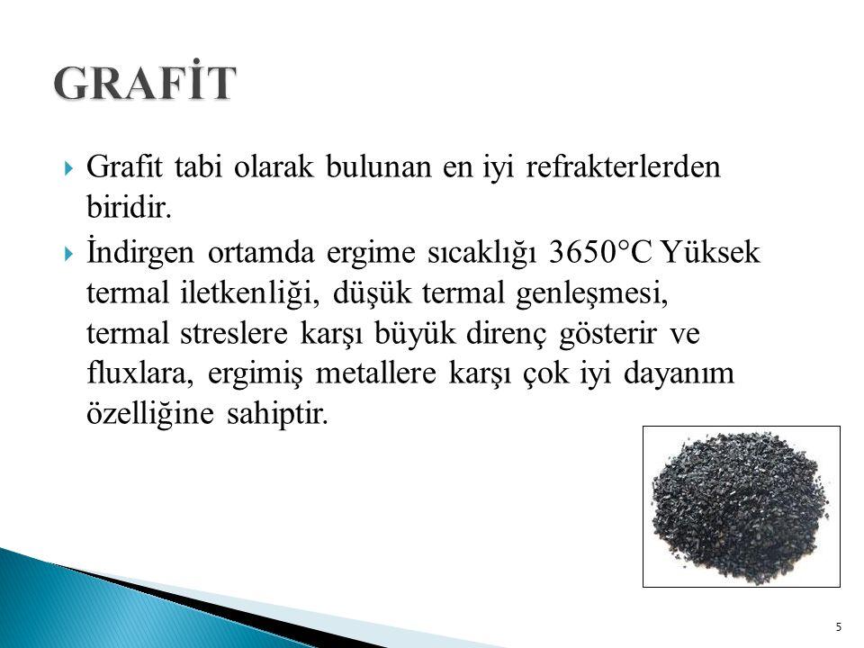  Grafit tabi olarak bulunan en iyi refrakterlerden biridir.  İndirgen ortamda ergime sıcaklığı 3650°C Yüksek termal iletkenliği, düşük termal genleş