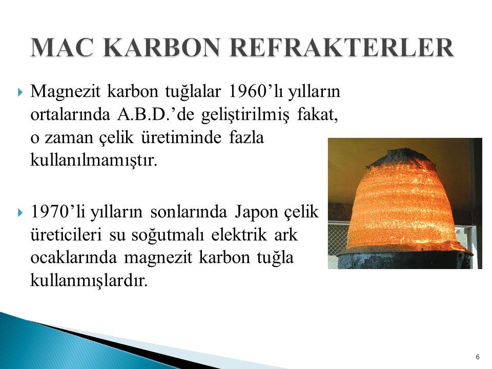  Magnezit karbon tuğlalar 1960'lı yılların ortalarında A.B.D.'de geliştirilmiş fakat, o zaman çelik üretiminde fazla kullanılmamıştır.  1970'li yıll