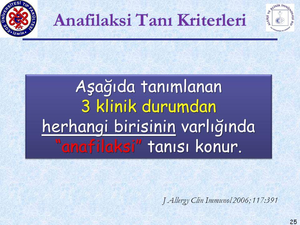 """25 Anafilaksi Tanı Kriterleri J Allergy Clin Immunol 2006; 117:391 Aşağıda tanımlanan 3 klinik durumdan herhangi birisinin varlığında """"anafilaksi"""" tan"""