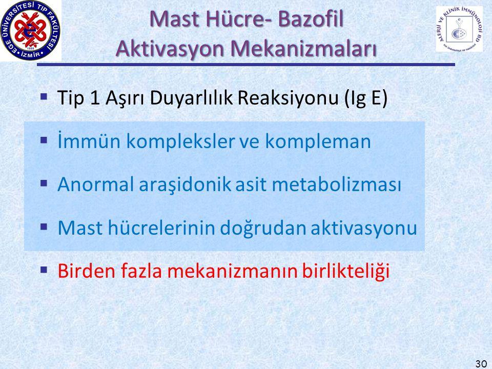 30  Tip 1 Aşırı Duyarlılık Reaksiyonu (Ig E)  İmmün kompleksler ve kompleman  Anormal araşidonik asit metabolizması  Mast hücrelerinin doğrudan ak