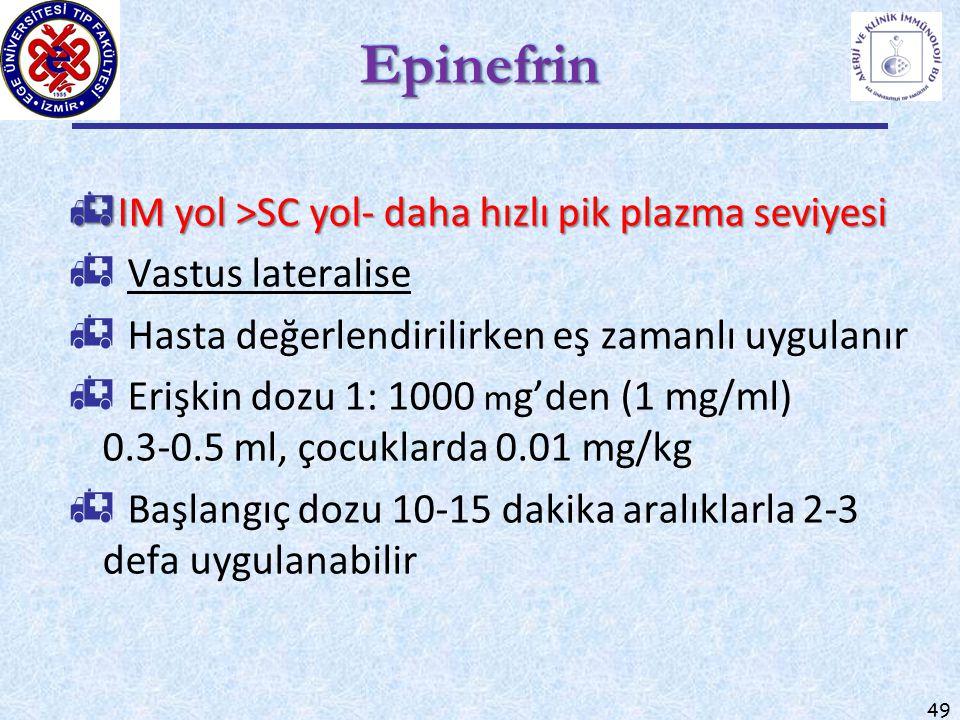 49 EpinefrinEpinefrin  IM yol >SC yol- daha hızlı pik plazma seviyesi  Vastus lateralise  Hasta değerlendirilirken eş zamanlı uygulanır  Erişkin d
