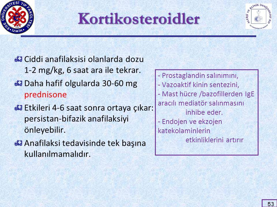 53 KortikosteroidlerKortikosteroidler  Ciddi anafilaksisi olanlarda dozu 1-2 mg/kg, 6 saat ara ile tekrar.  Daha hafif olgularda 30-60 mg prednisone
