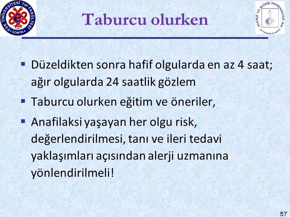 57 Taburcu olurken  Düzeldikten sonra hafif olgularda en az 4 saat; ağır olgularda 24 saatlik gözlem  Taburcu olurken eğitim ve öneriler,  Anafilak