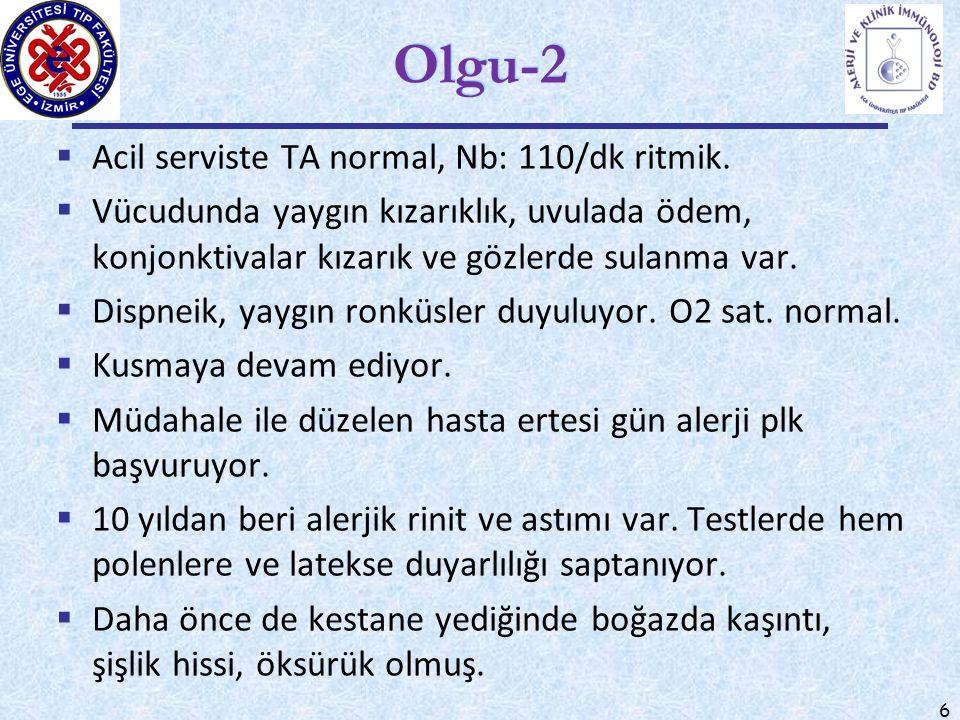 6 Olgu-2  Acil serviste TA normal, Nb: 110/dk ritmik.  Vücudunda yaygın kızarıklık, uvulada ödem, konjonktivalar kızarık ve gözlerde sulanma var. 