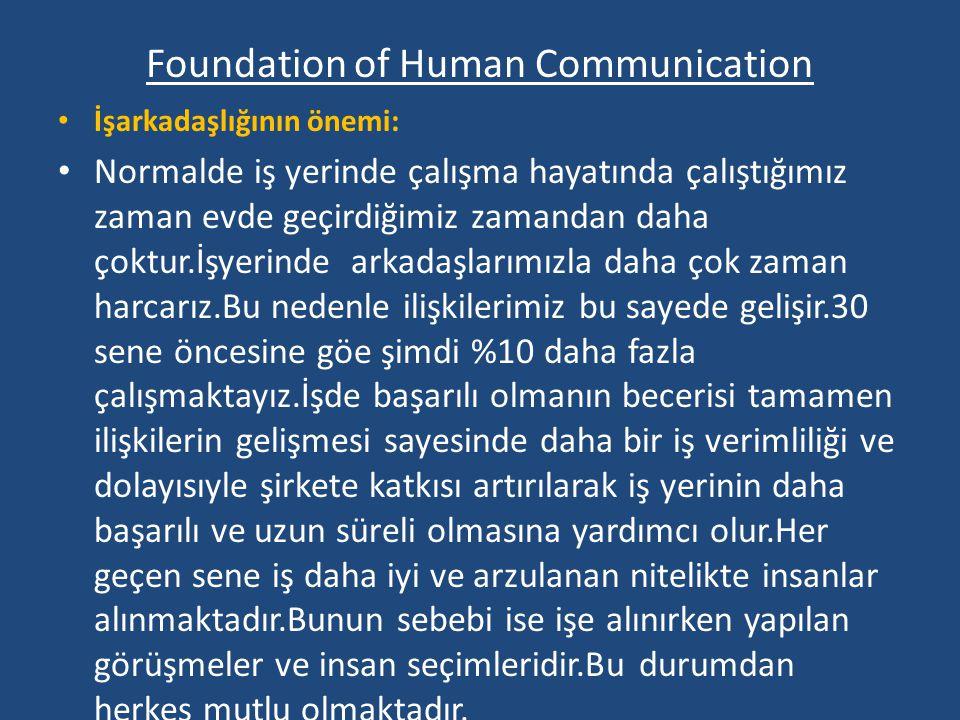 Foundation of Human Communication İşarkadaşlığının önemi: Normalde iş yerinde çalışma hayatında çalıştığımız zaman evde geçirdiğimiz zamandan daha çok