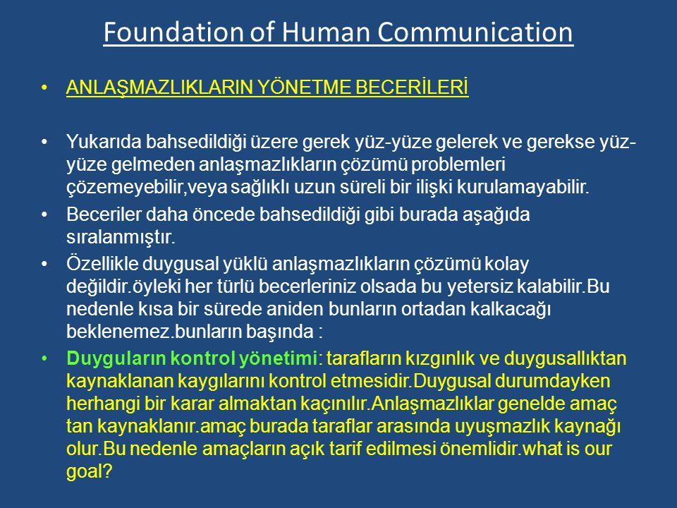 Foundation of Human Communication ANLAŞMAZLIKLARIN YÖNETME BECERİLERİ Yukarıda bahsedildiği üzere gerek yüz-yüze gelerek ve gerekse yüz- yüze gelmeden