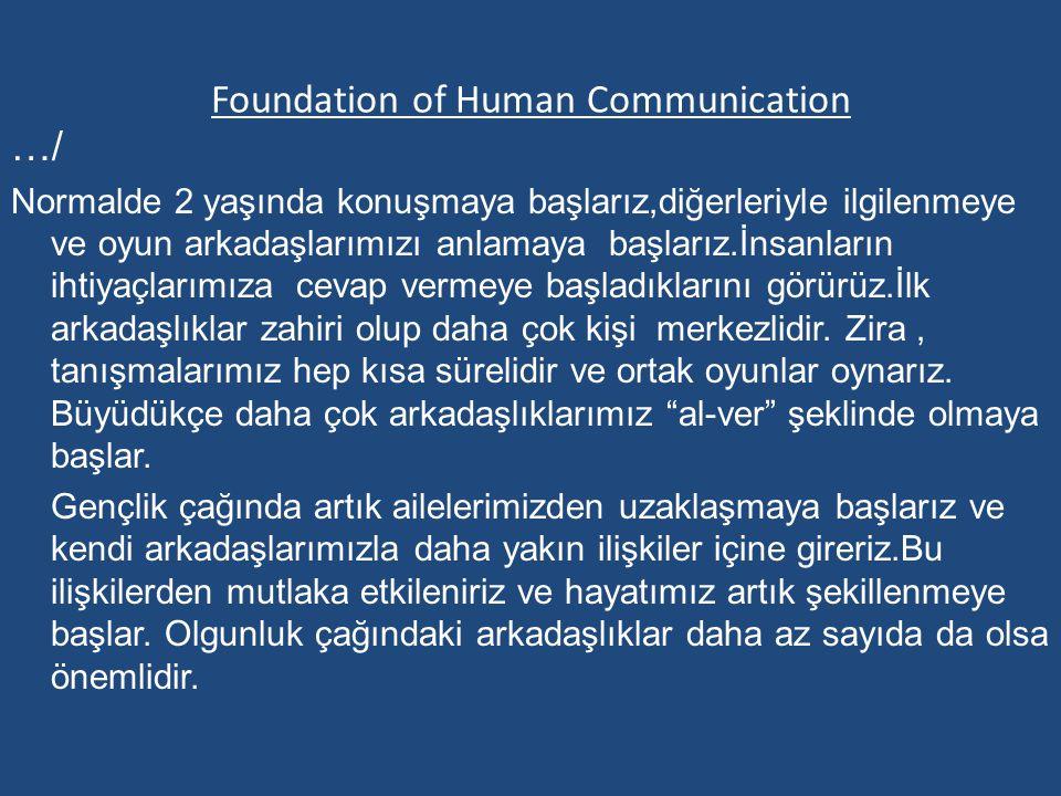 Foundation of Human Communication …/ Normalde 2 yaşında konuşmaya başlarız,diğerleriyle ilgilenmeye ve oyun arkadaşlarımızı anlamaya başlarız.İnsanlar